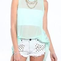 Final Sale - V Cut Lace Back Tank in Mint • Hipster.Co