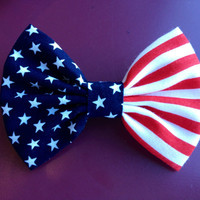 American Flag Fabric Hand sewn Hair bow by ClassyElleBows on Etsy