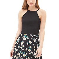 FOREVER 21 Floating Daisies Skater Skirt Black/White