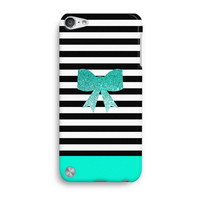 Blue Glitter Bow Stripes Cute Pattern iPod Touch 5 Case, iTouch 4 Case