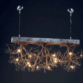 3 Rooted  ,Handmade Ceilling light made of pewter wires.