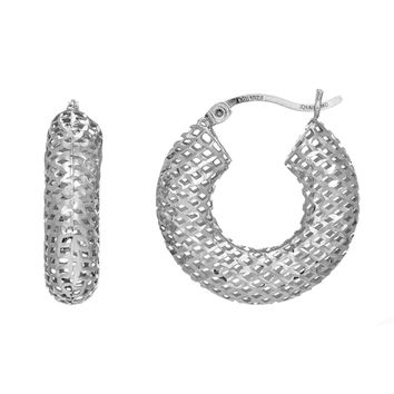 Sterling Silver with Rhodium Finish Fancy Round Puffy Hoop Earrings, Diameter 20mm