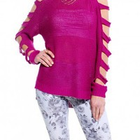 Open Arms Loose Knit Sweater in Magenta