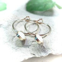 Tiny Hoop Earrings Dangle Gold MMS17 Opal
