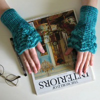 Lace Cuffs Teal Green by branda on Etsy