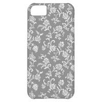 White Gray Modern Floral Pattern iPhone 5C Case