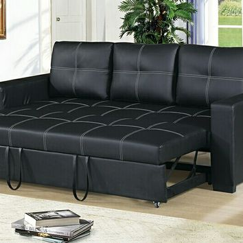 2 pc Daryl II collection black faux leather upholstered sofa set with pull out sleep area