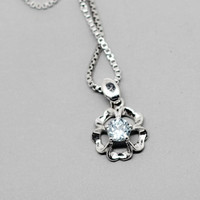 Blue Topaz Sliver Necklace, Flower Shape 925 Topaz Pendant, November Birthstone, Birthdays gift, Wedding present, Special Occasions