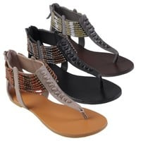 Brinley Co Womens Bead Accent T-strap Sandals