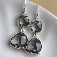 Charcoal Gray Earrings Silver Plated Two Tier - Bridesmaid Earrings - Grey Gray Bridesmaid Jewelry - Bridal Earrings - Wedding Jewelry
