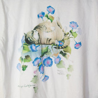 white cat kitten flowers floral tee, vintage retro 90s 1990s fashion t shirt, tshirt diy, spring 2014 soft grunge ironic, urban outfitters