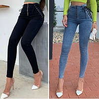 High Waist Hip Skinny Jeans Women Sexy European And American Slim Leg Pants Capris
