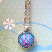 Hamsa glass dome necklace for tween or teen girl
