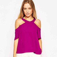 Purple Cutout-Shoulder Zipper Back Blouse