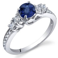 Created Sapphire Solistice Ring Sterling Silver Sizes 5 to 9