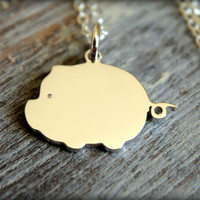 Cute Pig Necklace in Sterling Silver