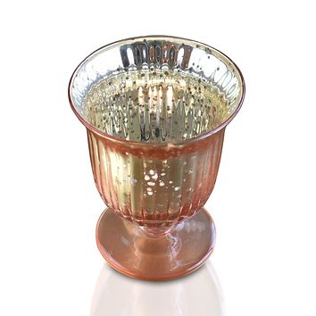 Vintage Mercury Glass Candle Holders (5-Inch, Emma Design, Fluted Urn, Rose Gold Pink) - Decorative Candle Holder - For Home Decor, Party Decorations, and Wedding Centerpieces
