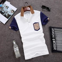 Summer Mosaic Men Korean Slim Cotton Short Sleeve Tops T-shirts [6544664131]