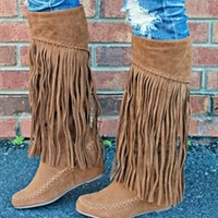 On The Road Again Wedge Boots - Tan