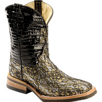 Ferrini Gold Floral Overlay Cowgirl Boots - Wide Square Toe - Sheplers