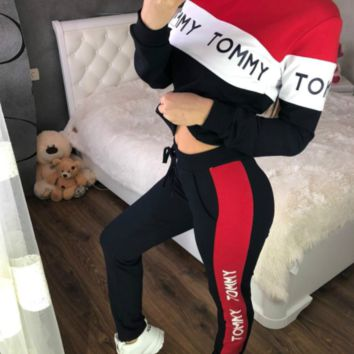 TOMMY Women Casual Multicolor Letter Pattern Print Long Sleeve Trousers Set Two-Piece