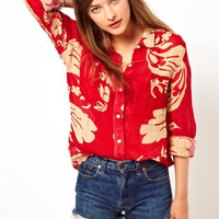 Red Floral Print Cuff-Sleeve Collar Shirt