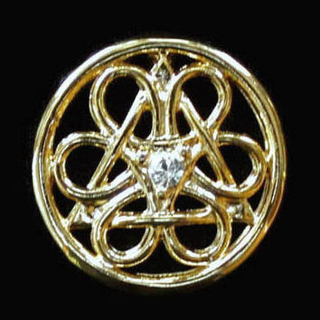 Celtic Knot Charm Pendant With Center Rhinestone, In Gold Tone