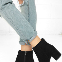 Steve Madden Holster Black Suede Leather Ankle Booties