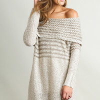 Off Shoulder Sweater Knit Dress