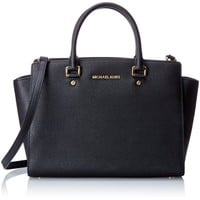 MICHAEL Michael Kors Women's Selma Large TZ Satchel, Black, One Size