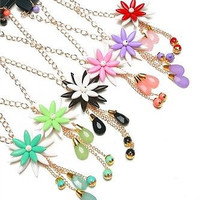 The Dangling Flower Necklace and Earring Set in Assorted Colors