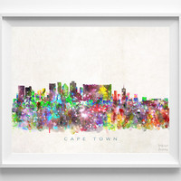 Cape Town Skyline, South Africa Print, Watercolor Painting, Wall Art, Cityscape, Giclee Art, City Painting, Home Decor, Christmas Gift