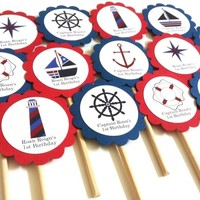 Nautical Cupcake Toppers in Navy Blue and Red   Adore By Nat
