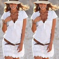2017 Summer Women Dress V-Neck Lace Mini Dresses Sexy Ladies Mini Dress Woman Clothes Sundress
