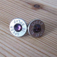 38 Special Bullet Earrings with Purple Amethyst Swarovski Crystal Accents - February Birthstone - Small Thin Cut - Classic - Girls with Guns