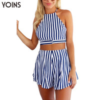 YOINS New 2016 Women Summer Sexy Striped Halter Backless Crop Tops Shorts Playsuit Beach Wear Co-ord Sets 2 Pieces