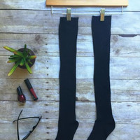 Midnight Black Long Socks