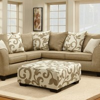 Barnsley Contemporary Sand Stone Sectional with Pillows and Ottoman - MADE IN THE USA