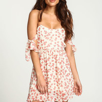 IVORY ROSE BOW TIE OFF SHOULDER FLARE DRESS
