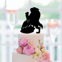 Funny Wedding Cake Topper Beauty And The Beast Silhouette Cake Topper for Party Decoration Cake Accessory