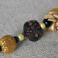 Fashion hand-decorated safety #pin to adorn #Hats and #Jackets, close #Cardigan and #Scarves - Color Brown, Cream and Amber
