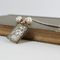 Red and Ivory Pride and Prejudice Dangling Beaded Bookmark with Book Charm - Handmade Bookmark - Ready to Ship