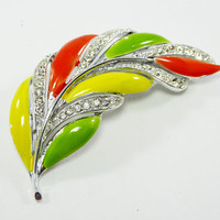 MOD Rhinestone Leaf Pin, Citrus Orange Yellow & Green Leaves with Clear Rhinestones Set in Silver Tone, Vintage 1970's 1980s Revival Jewelry