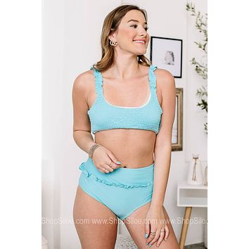 Baby Don't Be Blue High Waisted Two Piece Swimsuit