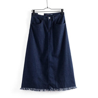Women's Fashion Summer Split Denim Skirt Prom Dress [4919972484]