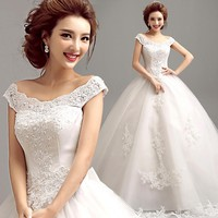Fashionable Word Shoulder v-Neck Lace Colorful Carpet Ball Gown Wedding Dress ,zkc uncle.5956 gy