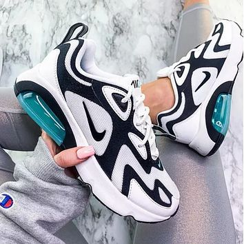 Nike Air Max 200 Fashion New Sports Air Sneakers Contrast Polyline Print Shoes White+Blue Sole