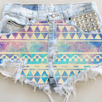ANY COLOR Aztec Galaxy Print Ripped Frayed Denim High-Waisted Shorts (UV7)