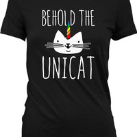 Funny Cat Shirt Behold The Unicat Unicorn Shirt Cat T Shirt Kitten Gifts Unicorn Gifts Kitty Clothing Animal Lover Gift Ladies Tee WT-318