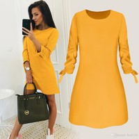 Spring New Fashion Solid Color Dress Casual O-Neck Loose Dresses 3/4 Sleeve Bow Elegant Beach Female Vestidos Plus Size